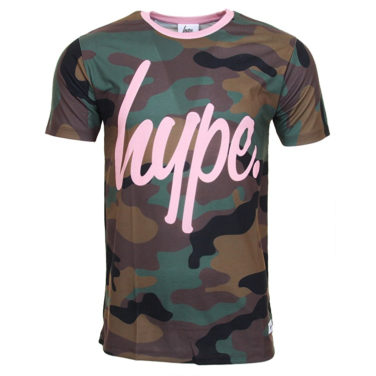 Hype X Urban Decay Pink Script T-Shirt - Camo/Pink