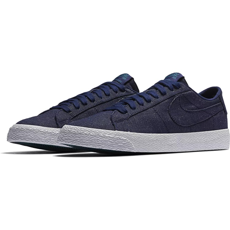 Nike SB Zoom Blazer Low Canvas Deconstructed Skate Shoes - Blue Void/Blue Void/Geode Teal
