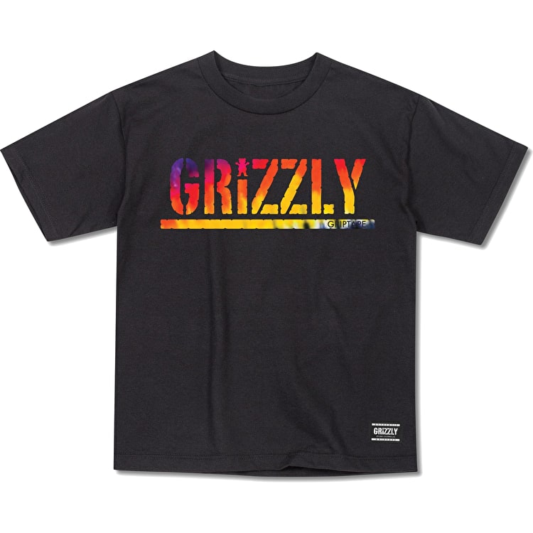 Grizzly Acid Test Stamp T Shirt - Black