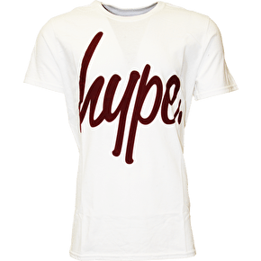 Hype Script T-Shirt - White/Burgundy