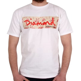 Diamond Supply Co Flamingo Box Logo T shirt - White