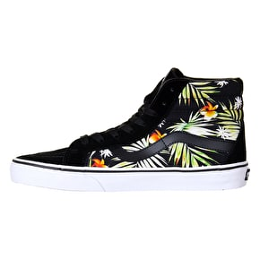 Vans Sk8-Hi Reissue Skate Shoes - (Decay Palms) Dress Blues/Neon Red