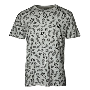 Santa Cruz Pray Pattern Custom T-Shirt - Carbon White