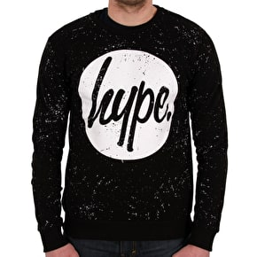 Hype Speckle Circle Crewneck- Black/White