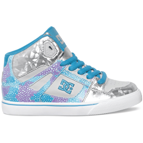 DC Spartan High SE Kids Shoes - Light Grey/Purple
