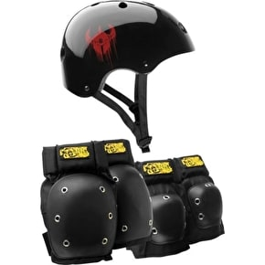 B-Stock Darkstar Helmet and Pad Set - Black - Large / XL (scratched kneepad)
