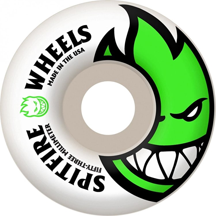 Spitfire White Skateboard Wheels Bighead - Neon Green 53mm (Pack of 4)