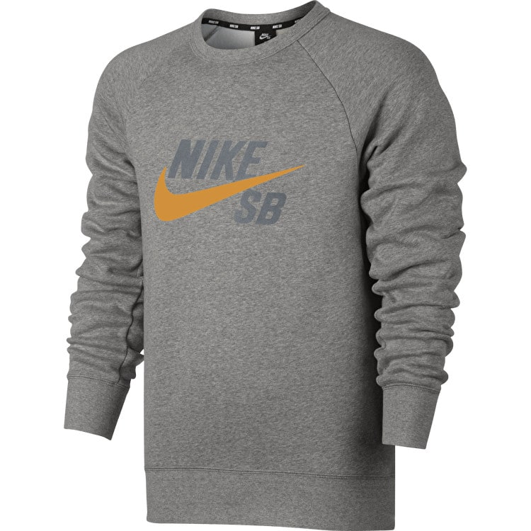 Nike SB Icon Graphic Crew Neck - Grey Heather/Circuit Orange