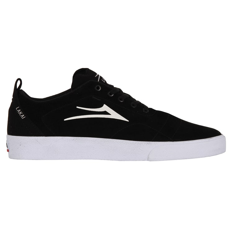 Lakai Bristol Skate Shoes - Black/White Suede