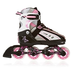 B-Stock SFR Vortex Girls Adjustable Inline Skates - Black/Pink - Medium (Junior UK 12 - UK 2) (Box Damage)