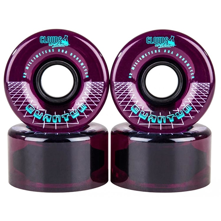 Clouds Urethane Quantum Quad Skate Wheels - Clear/Purple 62mm 80A (4 Pack)