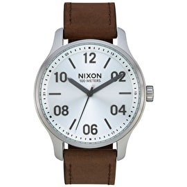 Nixon Patrol Leather Watch - Silver/Brown