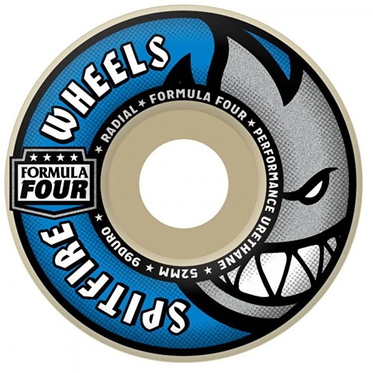 Spitfire Formula Four Radial 99D Skateboard Wheels - Blue 52mm (Pack of 4)