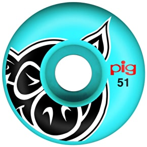 Pig Pig Head Skateboard Wheels - Blue 51mm (Pack of 4)