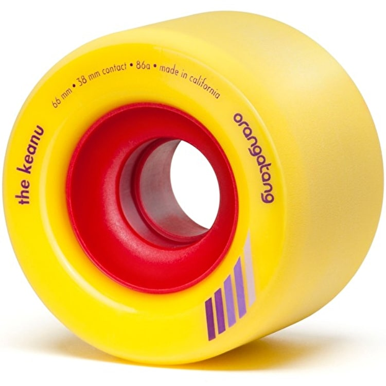 "Orangatang ""Keanu"" 86A Longboard Wheels - Yellow 66mm"