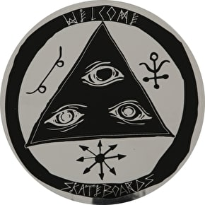 Welcome Talisman Skateboard Sticker - Chrome/Black