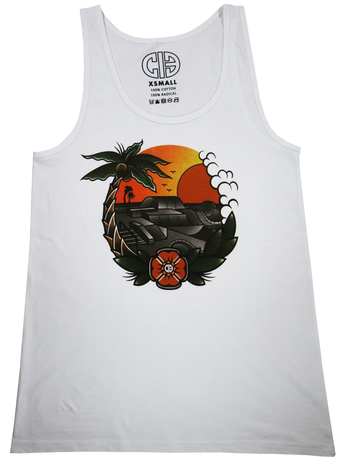Image of Chicks In Bowls Paradise Slim Tank Top - White