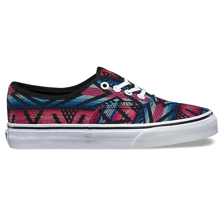 Vans Authentic Skate Shoes - (Moroccan Geo) Black/True White