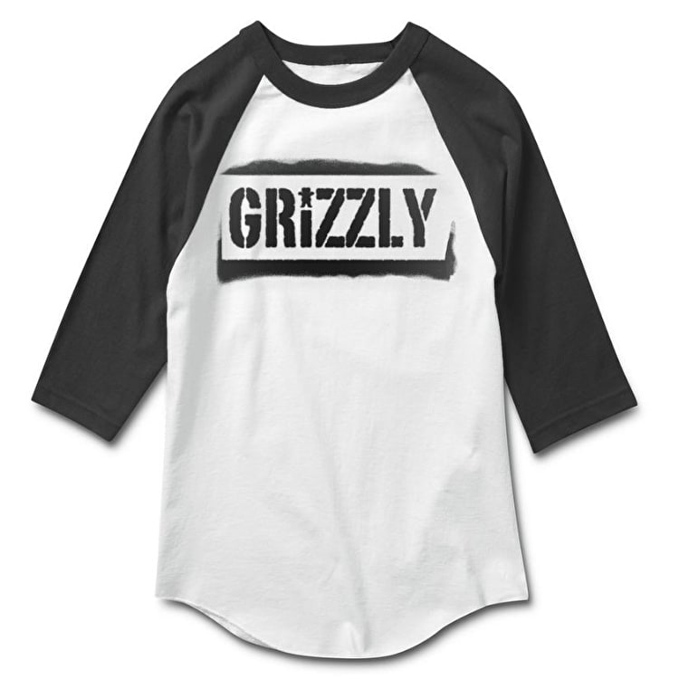 Grizzly Stencil Stamp Raglan T-Shirt - Black