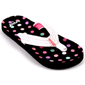 Reef Kids' Little Ahi Flip Flops - Brown/White/Dots