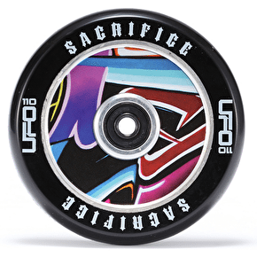 Sacrifice UFO 110mm Scooter Wheel w/Bearings - Black/Graffiti