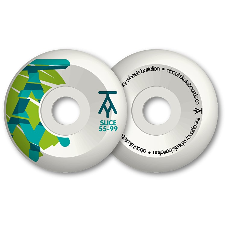 The Agency Slice 99a Skateboard Wheels - Lime Petrol Aqua 55mm (Pack of 4)