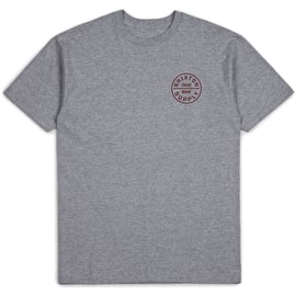 Brixton Oath Standard T Shirt - Heather Grey/Burgundy