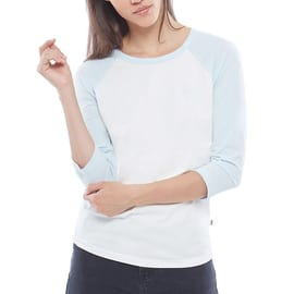 Vans Full Patch Womens Raglan T Shirt - Marshmallow/Baby Blue
