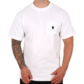 Grizzly Embroidered Pocket T shirt - White/Navy