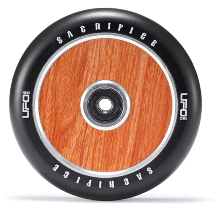 Sacrifice UFO 120mm Scooter Wheel w/Bearings - Black/Woodgrain SECONDS