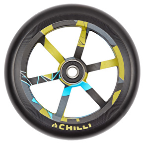 Chilli Pro 6 Spoke 120mm Scooter Wheel w/Bearings - Black/Urban Jungle