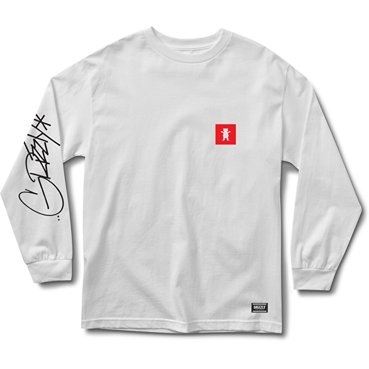 Grizzly Scrawl Long Sleeve T Shirt - White