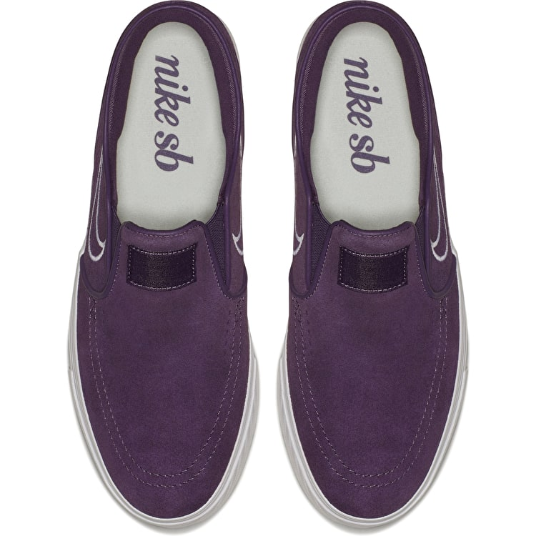 Nike SB Air Zoom Stefan Janoski Slip-On Skate Shoes - Pro Purple/White-Barely Grey