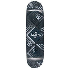 National Skateboard Co Classic Skateboard Deck - Black Wash/Blue Stain - 8.175