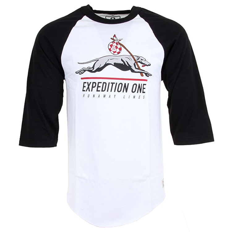 Expedition One Runaway Hound Raglan T-Shirt - White/Black