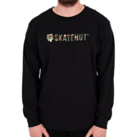 SkateHut Script Logo Long Sleeve T shirt - Black/Camo