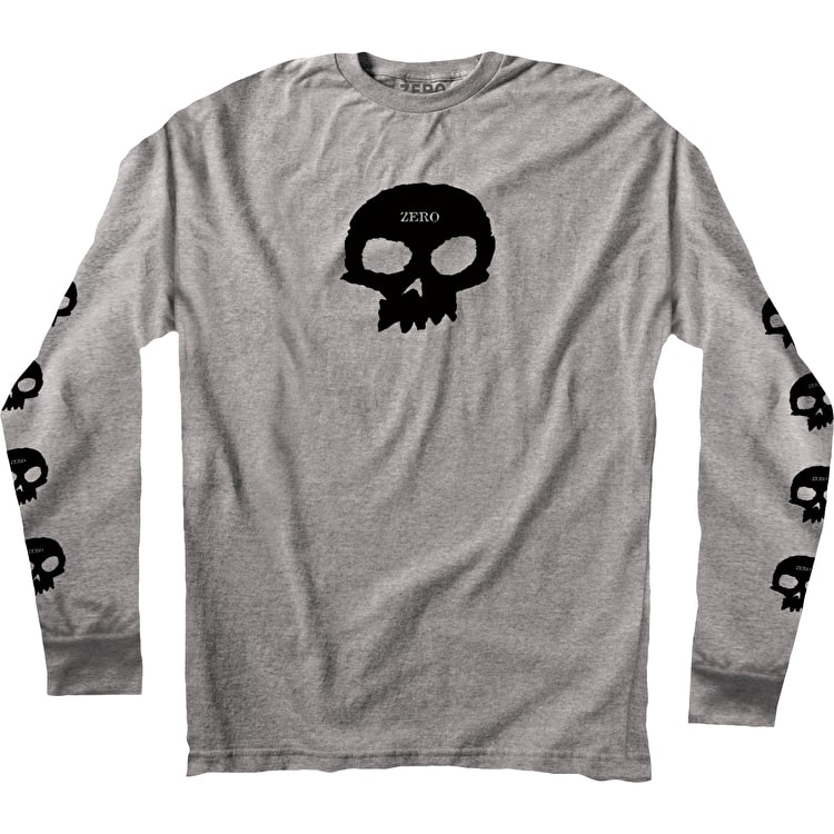 Zero Multi Skull Long Sleeve T Shirt - Ash Grey