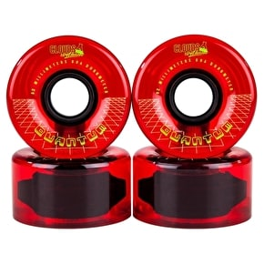 Clouds Urethane Quantum Quad Skate Wheels - Clear/Red 62mm 80A (4 Pack)