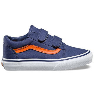 Vans Old Skool V Kids Shoes - (Canvas) Crown Blue/Mandarin Orange