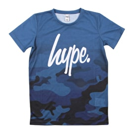 Hype Camo Fade Kids T-Shirt - Blue/Navy
