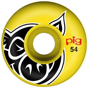 Pig Pig Head Skateboard Wheels - Yellow 54mm (Pack of 4)