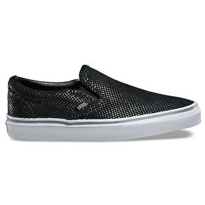 Vans Classic Slip-On Shoes - (Metallic Dots) Silver/Black