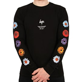 Hype Floral Arm Long Sleeve T Shirt - Black