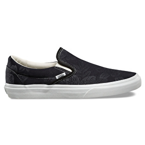 Vans Classic Slip-On Skate Shoes - (Floral Jacquard) Black/Blanc