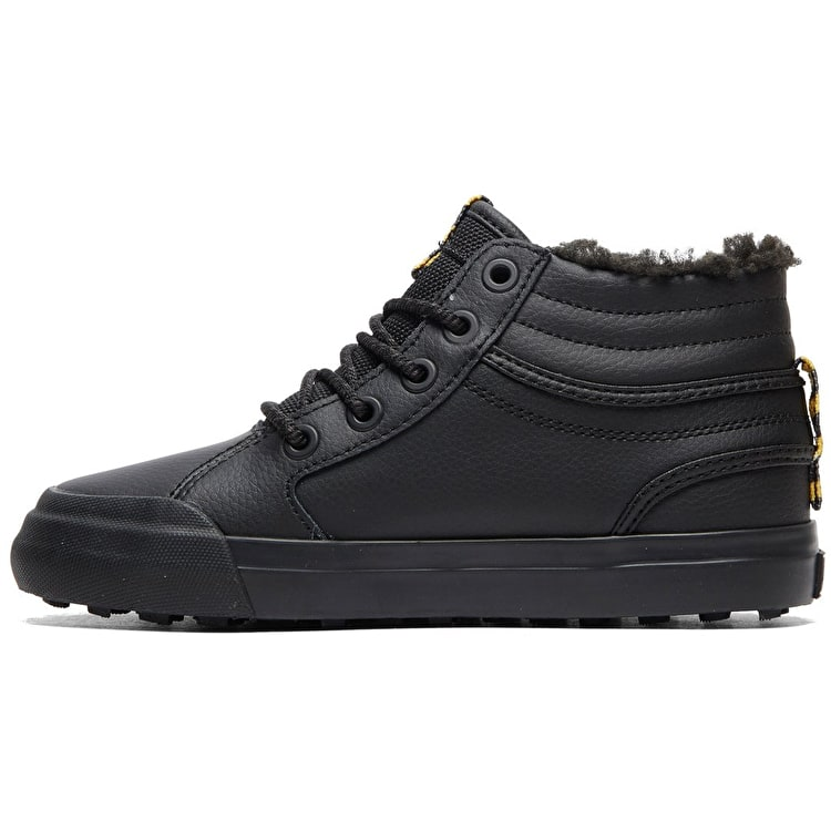 DC Evan Hi WNT - Winterized High-Top Skate Shoes - Black/Black/Yellow