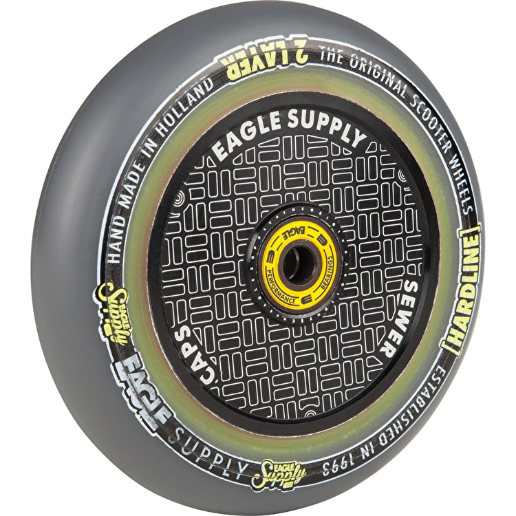 Eagle Sport Hardline 2-Layer HollowTech Sewercaps Scooter Wheel - Grey/Black 115mm