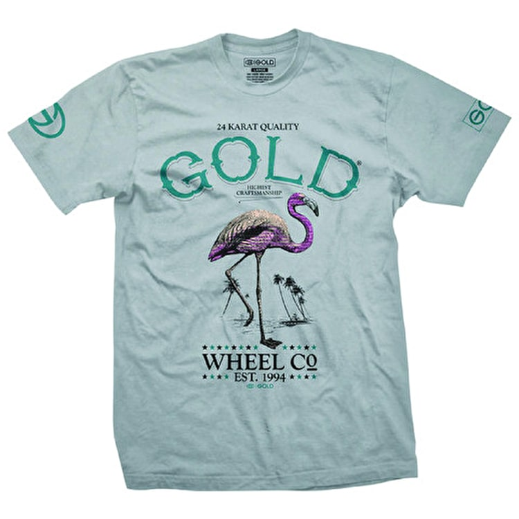 Gold Flamingo Beach T-Shirt - Silver
