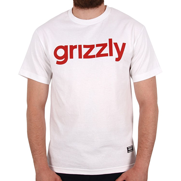 Grizzly Lowercase T Shirt - White/Red