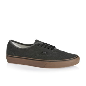 Vans Authentic Shoes - (Washed Canvas) Black/Gum