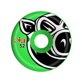 Pig 3D Conical Skateboard Wheels - Green 52mm